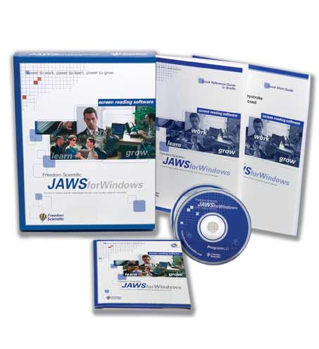 Image of the JAWS software package, including print and braille quick start guides and program and authorization CDs.